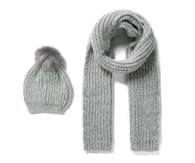 Pletený detský šál a čiapka - sivá