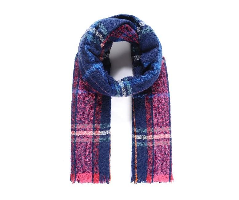 Šál s karovaným vzorom, modro- ružová