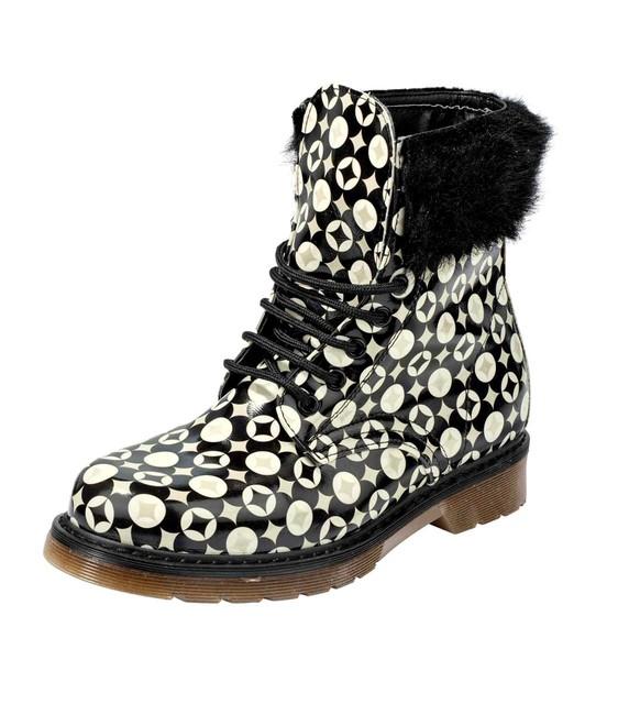 Kotníkové topánky s kožušinou, čierno-krémová