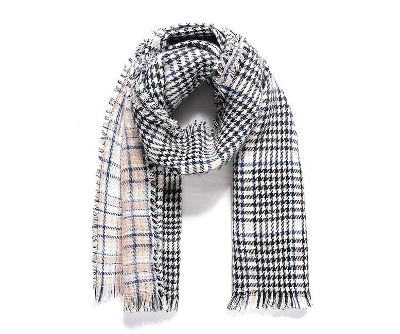 Tkaný pepitový šál, obojstranný, čierno-modrý