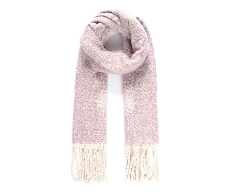 Objemný tkaný šál s bodkovaným vzorom, ružový