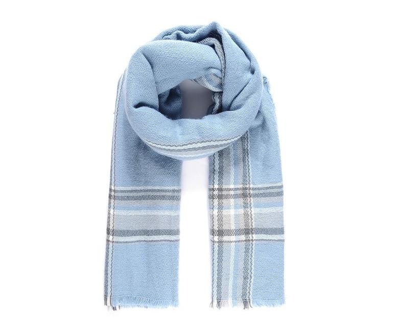 Tkaný šál s karo vzorom, svetlo modrý