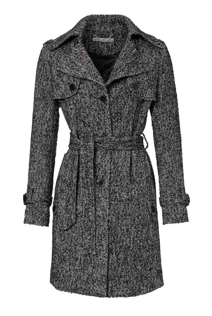 Vlnený kabát, čierno-biely