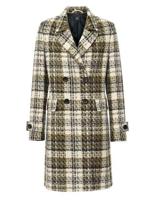 Vlnený kabát káro, žlto-čierno-krémový