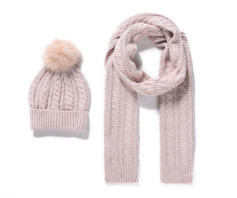 ac2a17029b5 Pletený detský šál a čiapka - ružová - Violettemoda.sk
